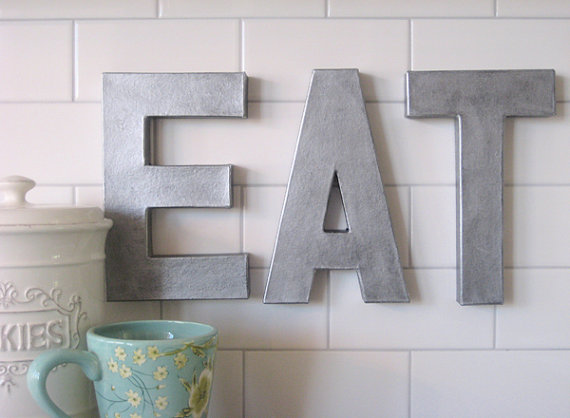 12 eat faux zinc letters pottery barn recreation eat for Kitchen letters decoration
